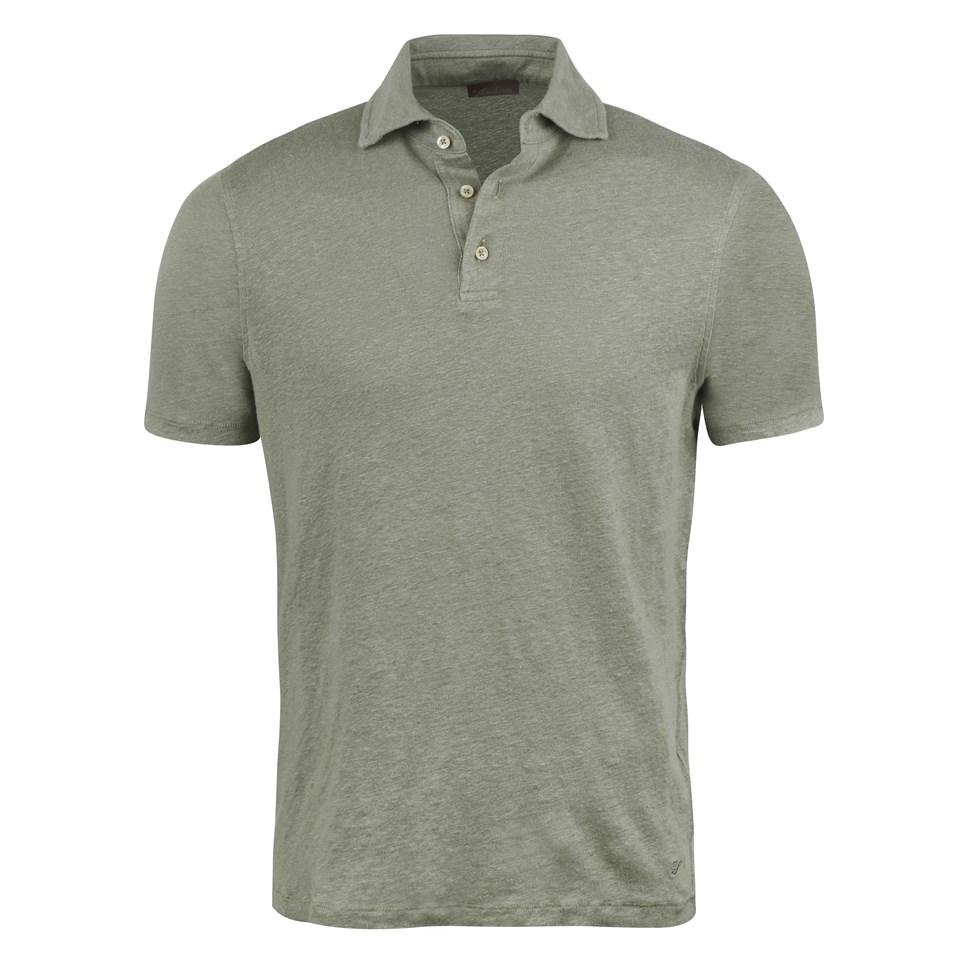 Green Linen Polo Shirt