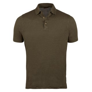 Olive Green Linen Polo Shirt