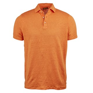 Orange Linen Polo Shirt