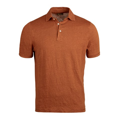 Dark Orange Linen Polo Shirt
