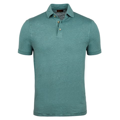 Green Linen Polo Shirt