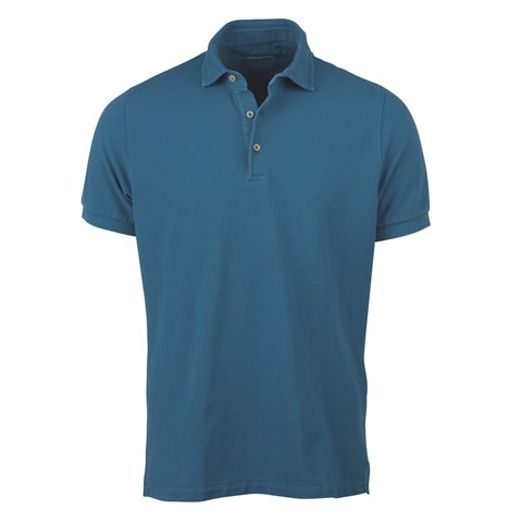 Blue Pigment Dyed Polo Shirt