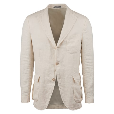 Creme Linen Blazer With Bellow Pockets