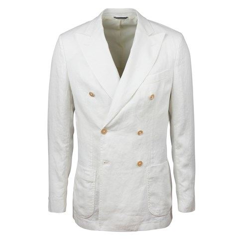 Off-White Double Breasted Linen Blazer
