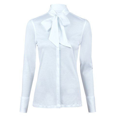 White Jersey Blouse With Bow
