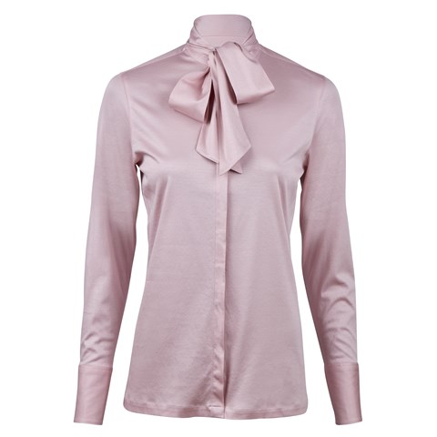 Lilac Jersey Blouse With Bow