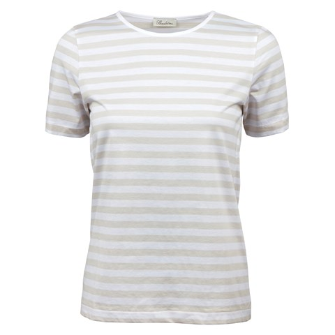 Beige Striped T-Shirt In Cotton Jersey