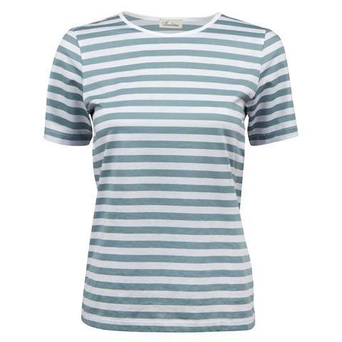 Slate Green Striped T-Shirt In Cotton Jersey