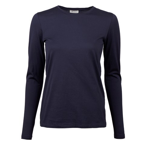 Navy Long Sleeved T-shirt In Cotton Jersey