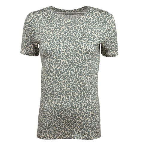 Green Leopard Patterned Linen T-shirt