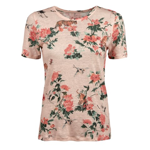 Light Pink Floral Linen T-shirt