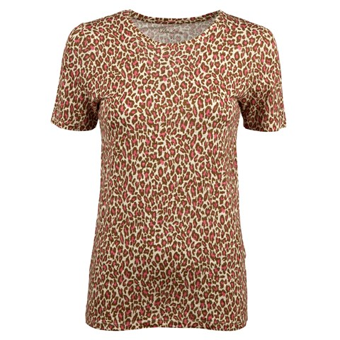 Pink Leopard Patterned Linen T-shirt