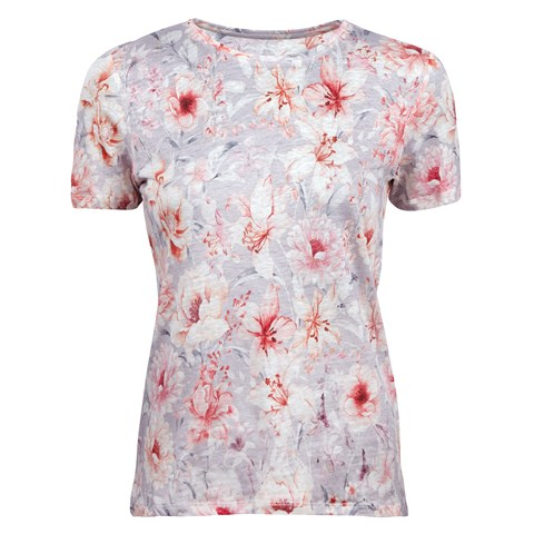 Flower Patterned Linen T-shirt