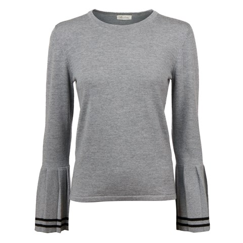 Grey Merino Sweater With Pleats