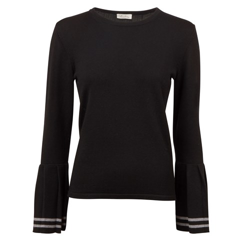 Black Merino Sweater With Pleats