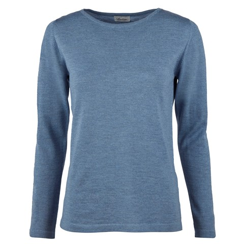 Blue Merino Boat Neck Sweater