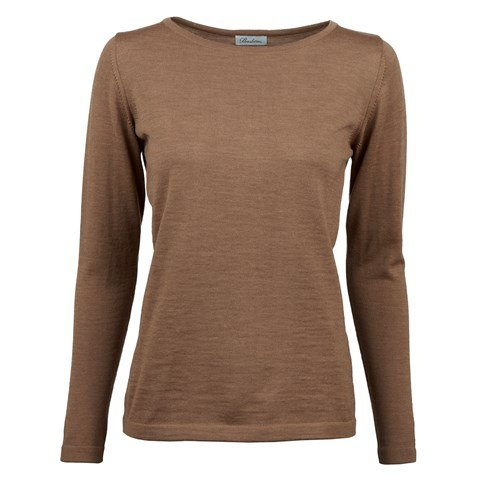 Beige Merino Boat Neck Sweater