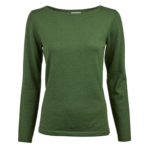 Green Merino Boat Neck Sweater