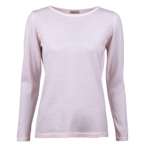Light Pink Merino Boat Neck Sweater