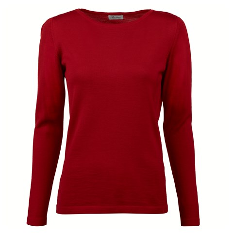 Red Merino Boat Neck Sweater