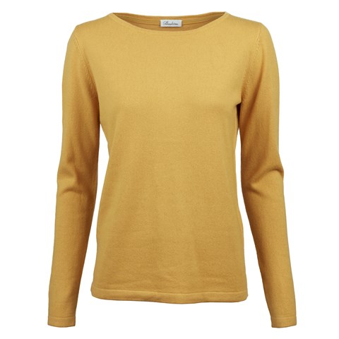 Yellow Silk Cashmere Boat Neck