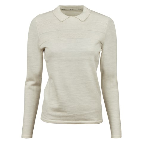 Off-White Merino Wool Sweater With Collar