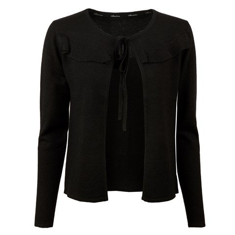 Black Silk Cardigan With Frill Details