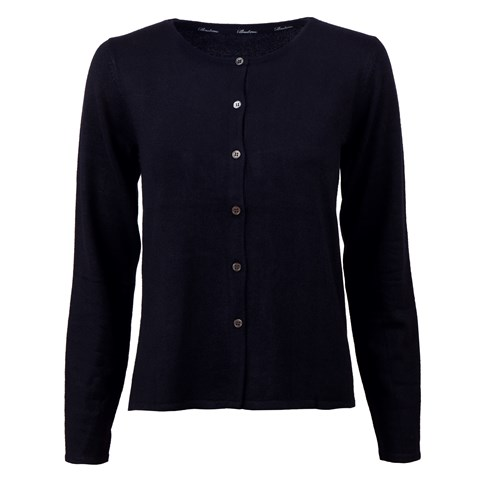 Navy Silk Cardigan With Pleated Back