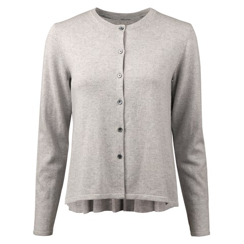 Grey Silk Cardigan With Pleated Back