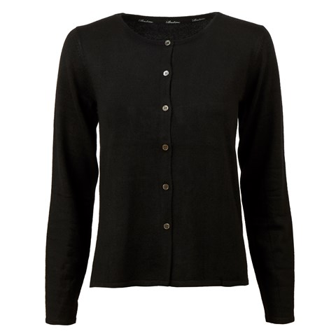 Black Silk Cardigan With Pleated Back