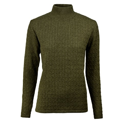 Green Merino & Cashmere Turtle Neck