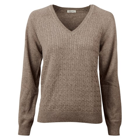 Mud Brown Merino & Cashmere V-neck