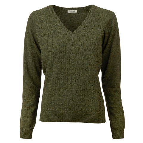 Green Merino Wool & Cashmere V-neck