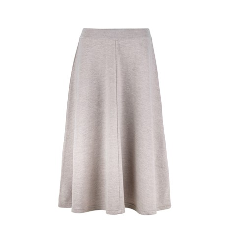 Aisha Knitted Merino Skirt Light Beige