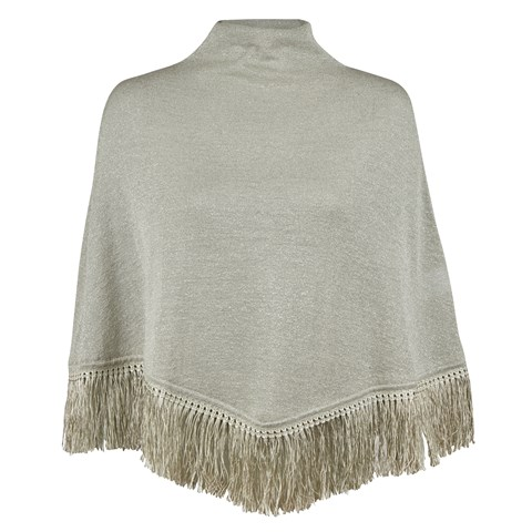 Mint Metallic Wool Poncho With Fringes