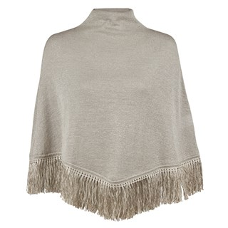 Beige Metallic Wool Poncho With Fringes