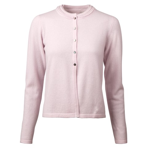 Pink Cashmere Cardigan With Braid Detail