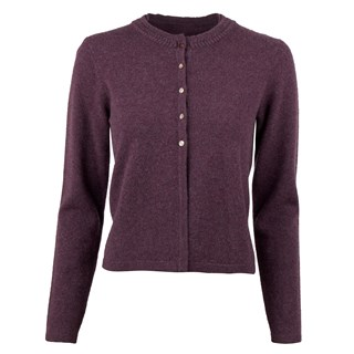 Plum Cashmere Cardigan With Braid Detail