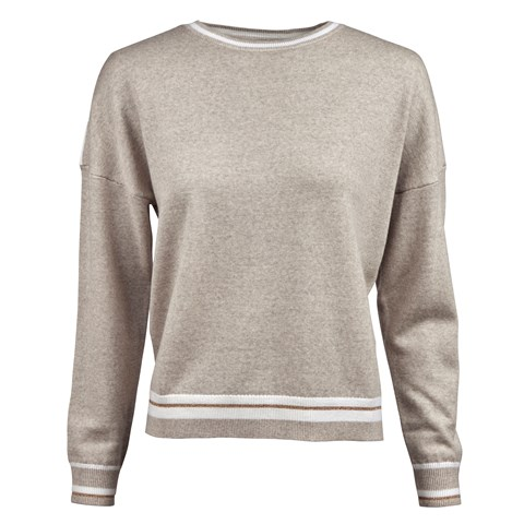 Beige Crew Neck With Striped Edges