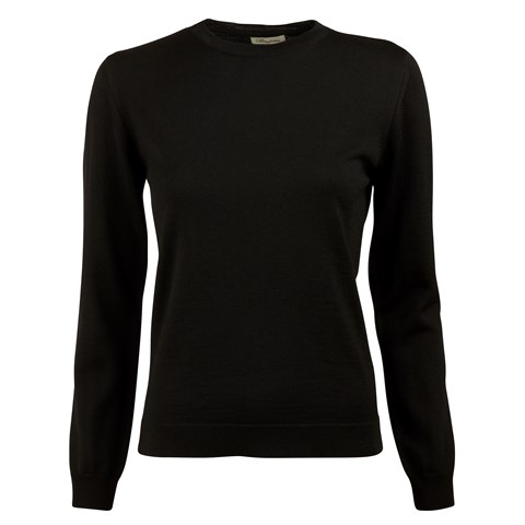 Black Merino Crew Neck