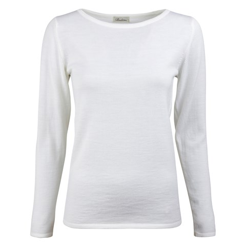 White Merino Boat Neck Sweater