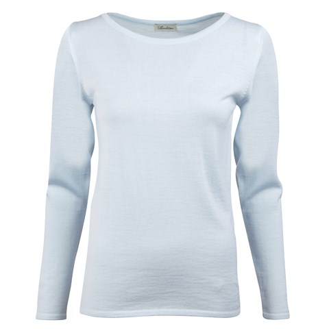 Light Blue Merino Boat Neck Sweater