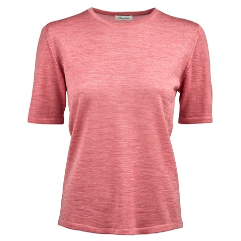 Pink Merino Crew Neck With Short Sleeves