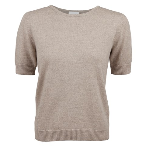 Beige Short Sleeve Merino Crew Neck With Details