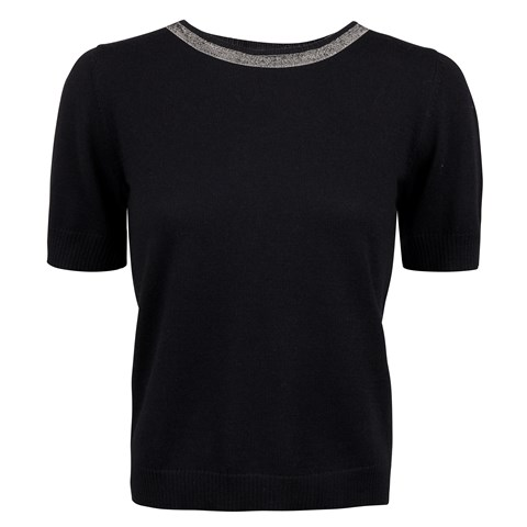 Black Short Sleeve Merino Crew Neck With Details