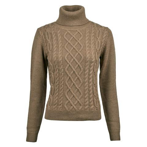 Beige Merino Cable Roll Neck