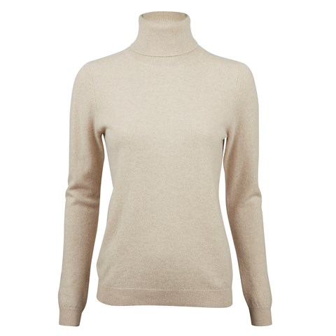 Sand Cashmere Roll Neck