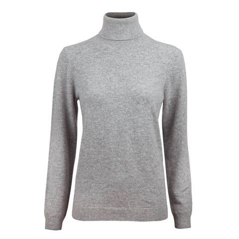 Grey Cashmere Roll Neck