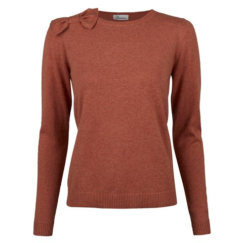 Orange Cashmere Sweater With Bow