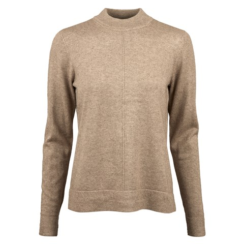 Beige Silk Cashmere Mock Neck